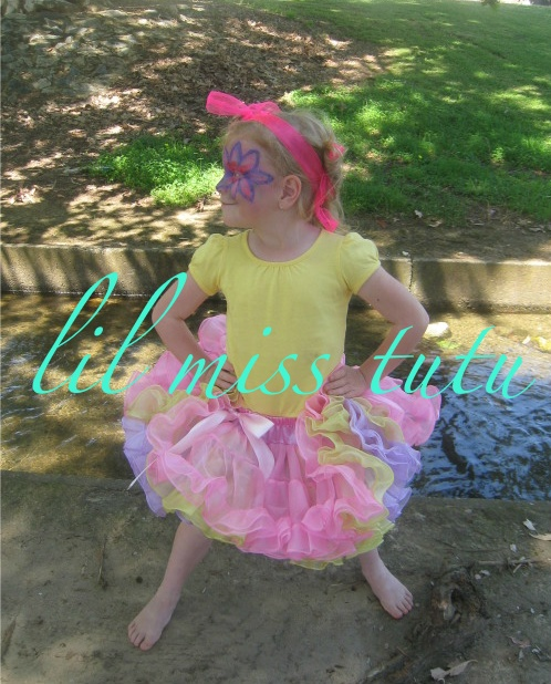 Frilly Floss Oopsa Daisy Tutu  $69.95  Delightful & Gorgeous ... Frilly & fabulous pink, purple & yellow 3 layers length 31cms Size 3/4-7    Check out these Gorgeous Frills on our Facebook Album http://www.facebook.com/LilMissTutu#!/album.php?aid=269614&id=14074258047
