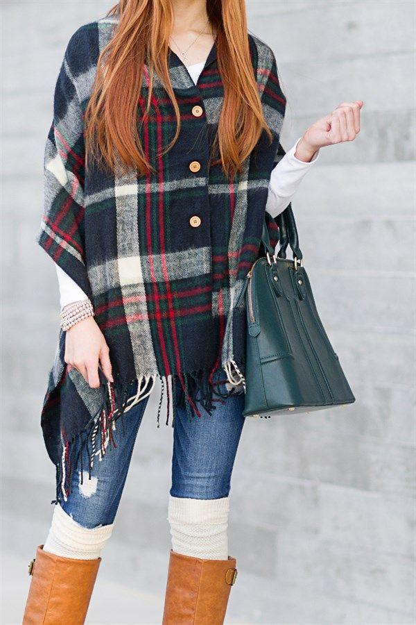 Button Down Plaid Blanket Scarves | Jane