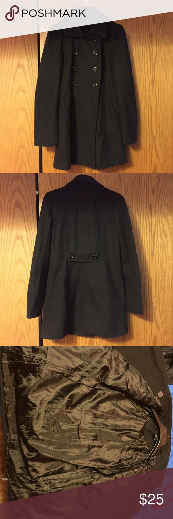 Long Black Pea Coat Long black pea coat. Warm and long enough to cover your bottom during a cold winter; it reaches a little past shorts length on my legs. Gently used. Two large pockets in the front. All buttons are present and there are 4 in the front. Xxi Jackets & Coats Pea Coats
