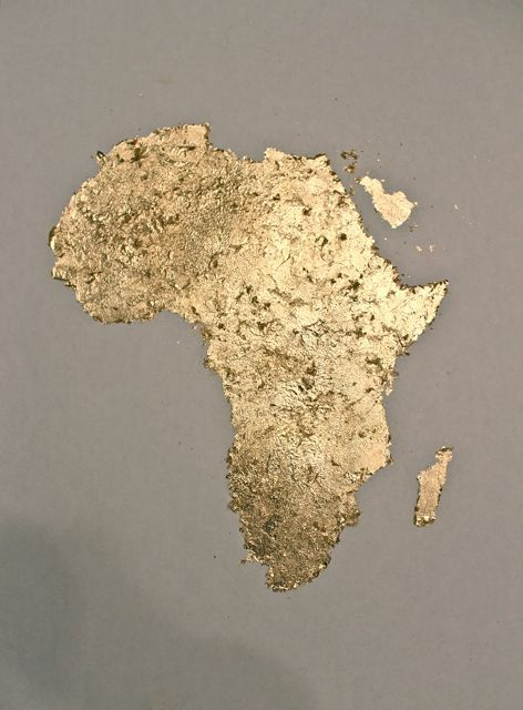 Gold Leaf painting of Africa by 10kiaatstreet on Etsy, $60.00