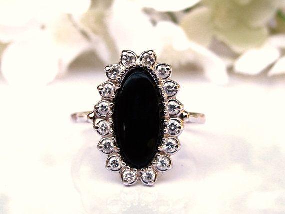 Elegant Onyx and Diamond Vintage by LadyRoseVintageJewel on Etsy