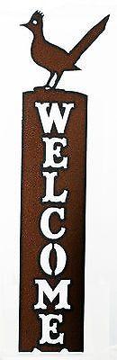 Roadrunner Southwestern Home Metal Vertical Welcome Sign Front Door Welcome