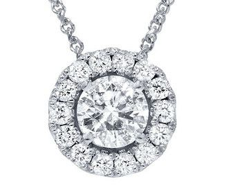 3/4 cttw colgante doble de Halo de diamantes 14K de por Pompeii3