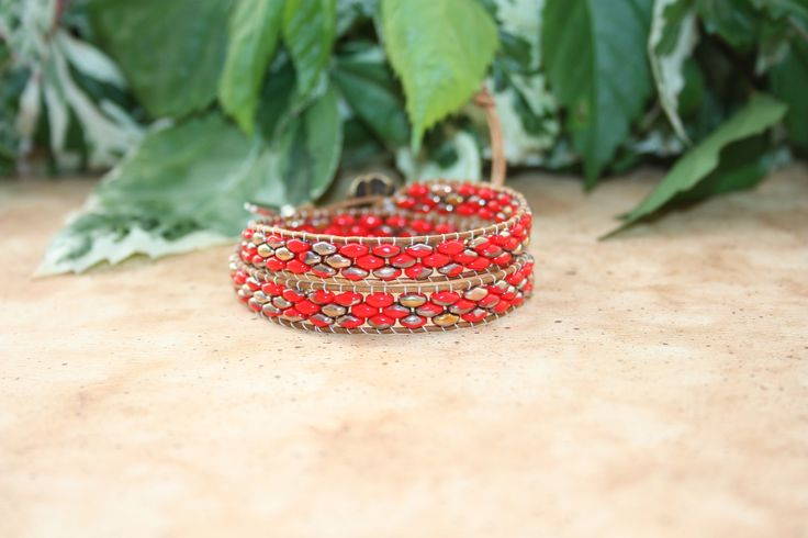 Seed Bead Bracelet - Beaded Bracelet - Friendship Bracelet - Boho Bracelet - SuperDuo Bracelet - Beaded Jewelry - Leather Wrap Bracelet by BohoGirlDesign on Etsy