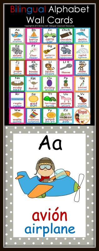 Bilingual alphabet wall cards with an uppercase and lowercase letter featured on each card, along with a graphic and the word that matches the picture.