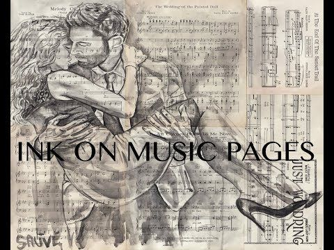 "How to Ink on music pages - ""Valentines couple"""