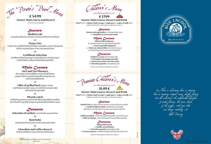 Blue Lagoon Restaurant menu