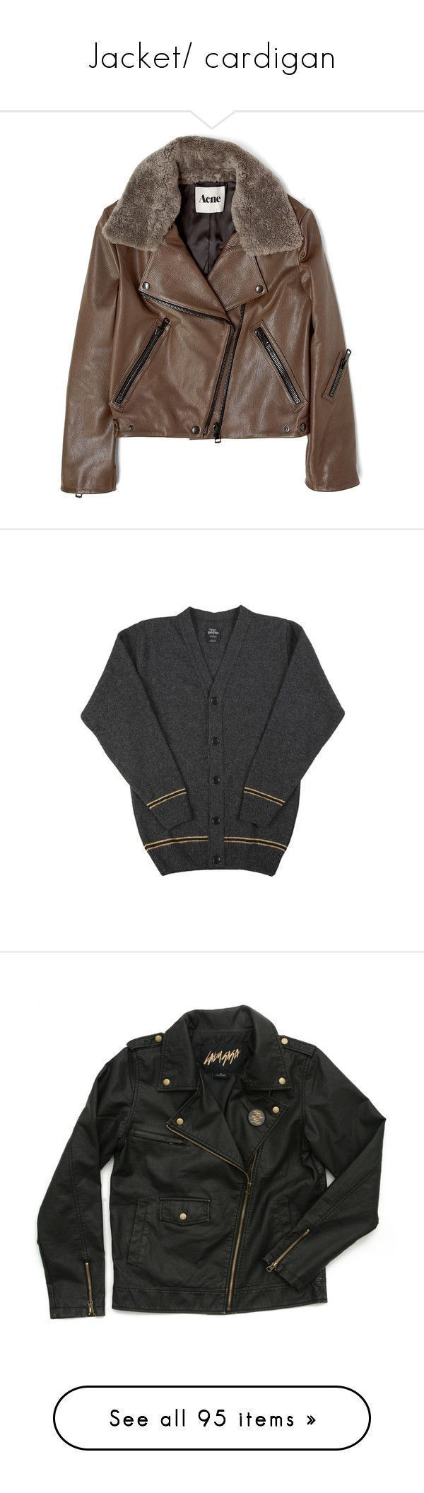 """""""Jacket/ cardigan"""" by beatrizmx3 ❤ liked on Polyvore featuring outerwear, jackets, coats, leather jacket, brown jacket, real leather jackets, aviator jacket, 100 leather jacket, acne studios and tops #acneaviatorjacket,"""