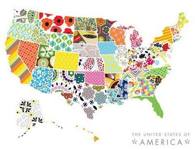 I would love to create this with my Cricut and the 50 States cartridge. Just give me some fat quarters and heat & bond. All states cut proportionately to Texas!