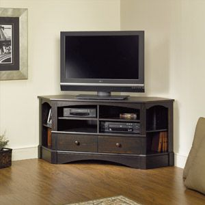 "Sauder Harbor View Corner Entertainment Credenza for TVs up to 61"", Antiqued Paint"