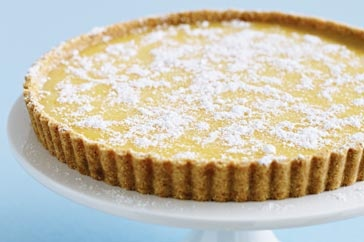 Trying this one tonight:  Lemon tart   Ingredients (serves 6)  185g Marie or Nice biscuits, processed to fine crumbs  1/2 teaspoon ground cinnamon  1/4 teaspoon ground nutmeg  90g butter, melted  Pure icing sugar, to serve  Lemon curd  3 lemons  4 eggs  1 cup caster sugar  125g butter, chopped