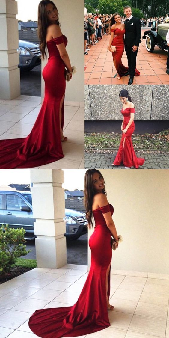 8bd5fc2a7638 Sexy Off the shoulder Mermaid Long Dark Red Prom Dress Evening Dress by  MeetBeauty, $121.00 USD