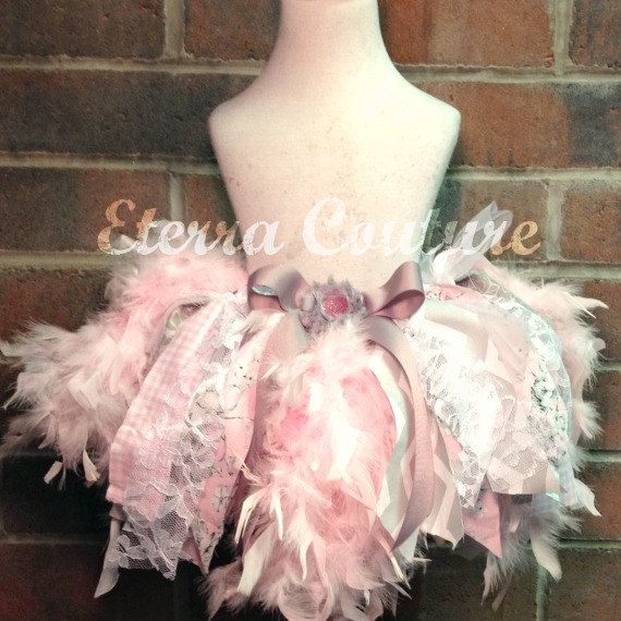Feather & Lace Tutu Skirt Jumble Feather Dress Pageant Toddler Tutu - Pink / Grey Feather Birthday Vintage Dress