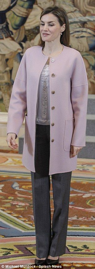 Beautiful Spain us Queen Letizia wears a coat by Hugo Boss for the second time