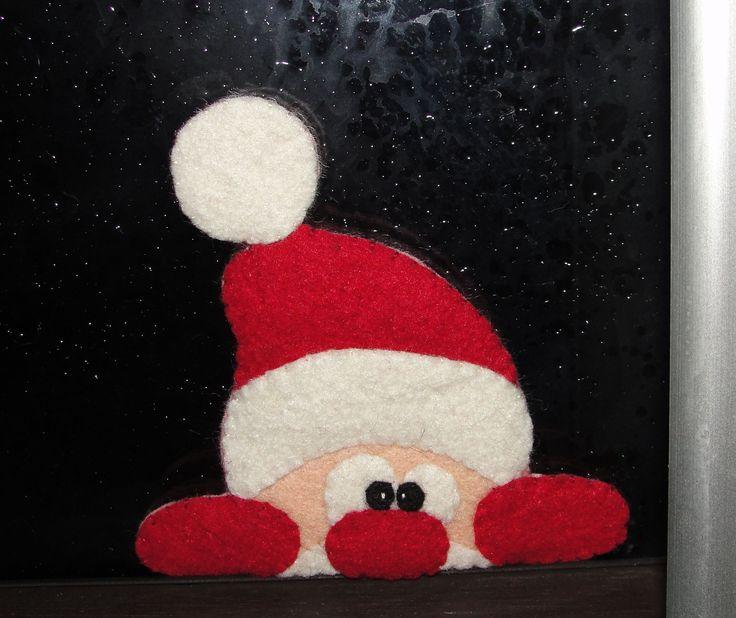 Wool felt Santa Claus, Window Decor