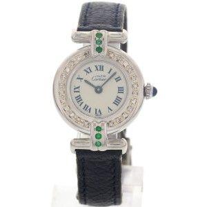 Cartier Ronde Must de 890002 Argent Diamonds & Emeralds Womens Watch