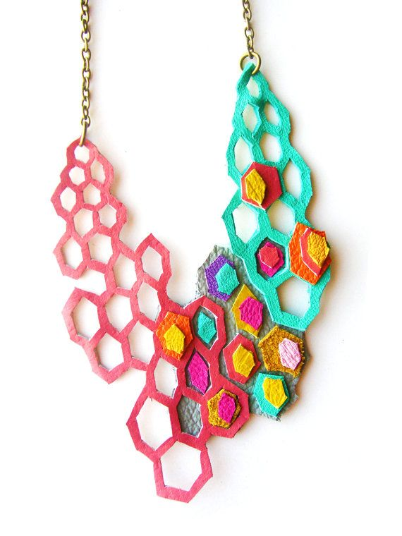 Boo and Boo Factory - Geometric Necklace Modern Leather Molecules