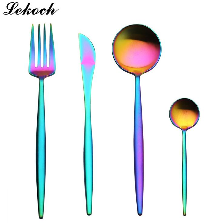 Set Rainbow Silverware Stainless Steel Cutlery Set Dinnerware //Price: $23.97 & FREE Shipping //     #artscrafts #bakeware #barware #bathroom #home