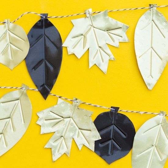 Create a modern metallic leaf garland and decorate your home for fall.