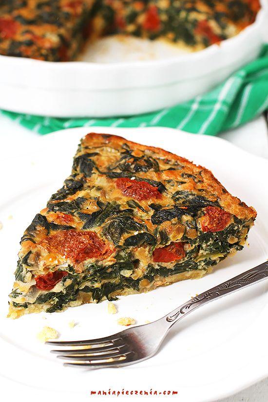 quiche ze szpinakiem i soczewicą, quiche ze szpinakiem, tarta zez szpinakiem i soczewicą, tarta ze szpinakiem, spinach and lentil quiche,