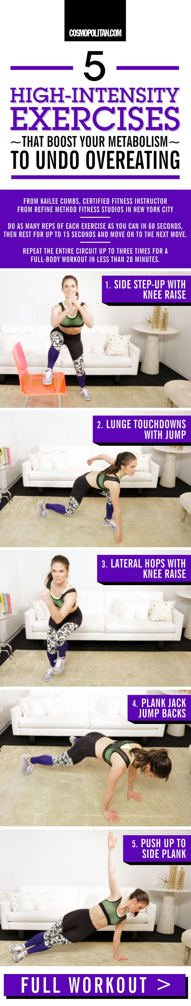 HIGH-INTENSITY EXERCISES TO BOOST YOUR METABOLISM: The best way to undo overeating is to get back on track with a workout that makes you S-W-E-A-T. (You'll feel way better afterward, trust.) The morning after eating a massive meal, don't beat yourself up. Just perform this circuit, designed by Kailee Combs, certified fitness instructor from Refine Method, a high-intensity training studio in New York City. You'll raise your heart rate while giving your metabolism a much-needed boost. Click…