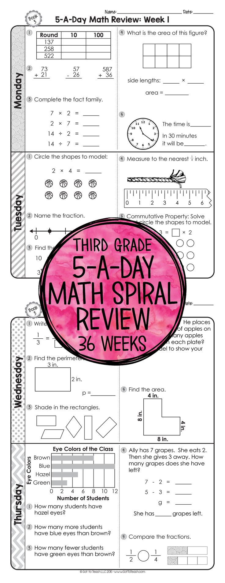 Worksheet Third Grade Homework 17 best ideas about 3rd grade homework on pinterest third 36 weeks of daily common core math review for preview and important