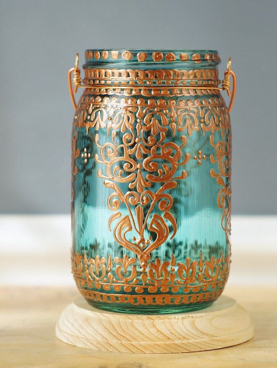 Bohemian Hanging Lantern, Mason Jar Candle Holder with Moroccan Henna Styled Copper Detailing