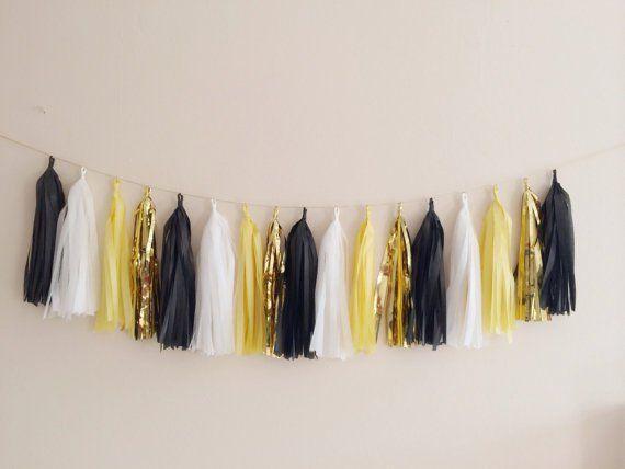 Yellow, Black and Gold Tassel Garland - Gatsby Decor, Party Decor Banner, Birthday Decoration, Wedding Decor, Baby Shower