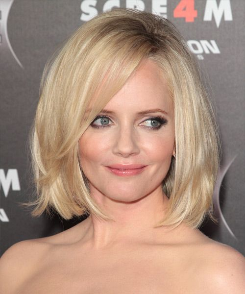 This light blonde bob is blunt cut to sit at the shoulders with jagged cut layers through the mid-lengths to ends to add body and width. This fantastic look is great for those looking for a low-fuss style with shape and attitude. A little product is needed for shine and hold.