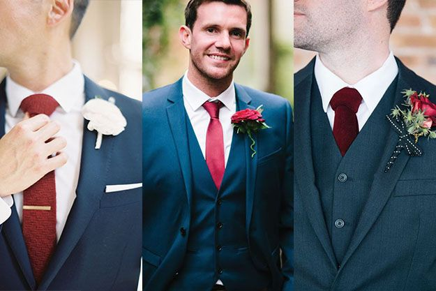 Blue Man suit for grooms and groomsmans // Elegant Blue suit for man // Assortir un costume bleu pour un mariage avec une cravate rouge