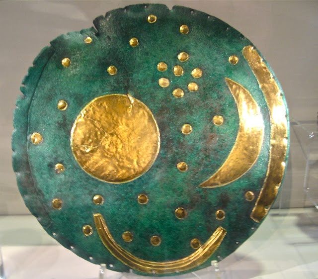 The Nebra Sky Disc ~ Ancient Bronze Age relic discovered in 1999. Made from Cornish tin, Austrian copper, and Cornish gold. Beautiful!