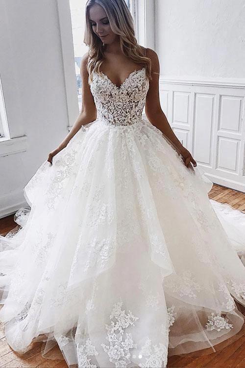 Vestido de fiesta largo de tul blanco con encaje, vestido de noche de encaje blanco #weddingdr …
