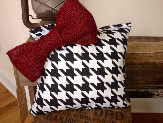 Houndstooth and crimson pillow by LovebugWreathsNmore on Etsy, $15.00 University of Alabama