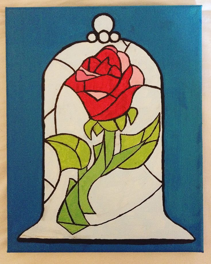 Disney Beauty and the Beast stained glass rose canvas