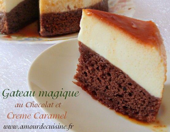 gâteau magique au chocolat et crème caramel