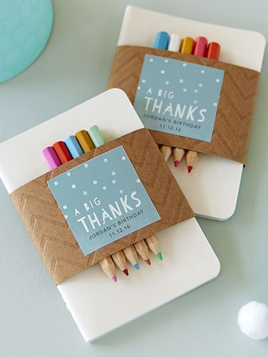 Create a fun party favor they'll actually want to take home. Use a personalized gift tag to secure some colored pencils for the kiddos, and maybe throw in a coloring book for extra fun.