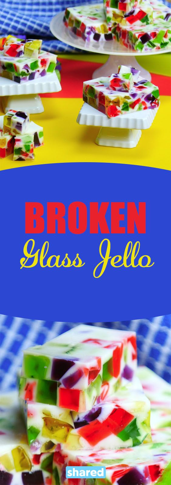 Jell-o is a staple at most households. It has been around forever and has been turned into so many different dishes over the years, but none as colorful as this Broken Glass Jell-o. Also called Stained Glass Jell-o, this dessert mixes together all your favorite flavors into one rainbow wiggly brick that you and the kids will love!