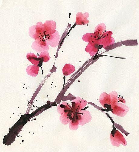 Resultado de imagem para galho de cerejeira em aquarela