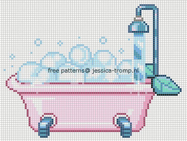 salle de bains - bathroom - baignoire - point de croix-cross stitch - broderie-embroidery- Blog : http://broderiemimie44.canalblog.com/