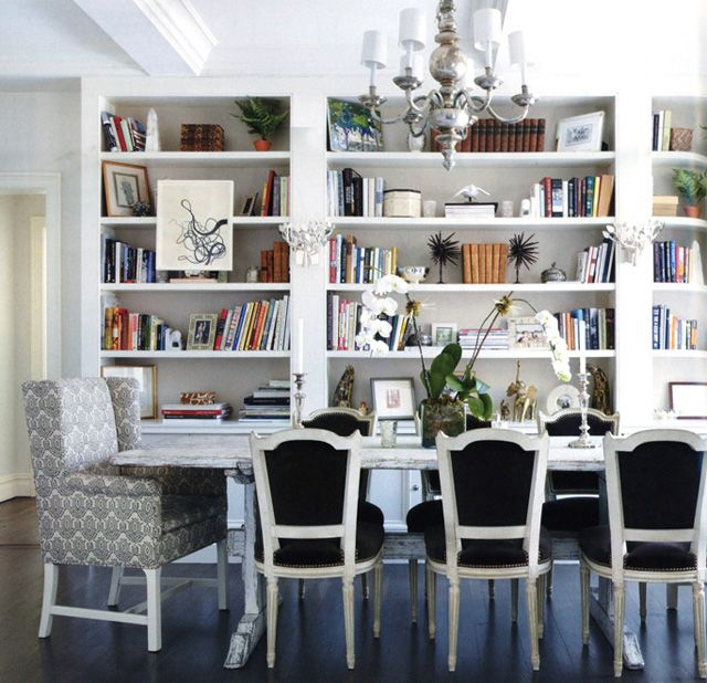 Caroline Sieber The Dining Room Above Stopped Me In My Tracks Blue Built Ins Complete With Sconces Gorgeous Chairs And