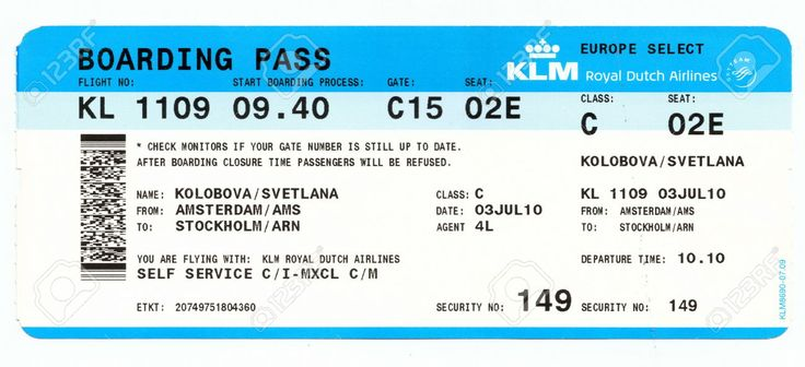 36460059 Boarding Pass Of Klm Royal Dutch Airlines Flight
