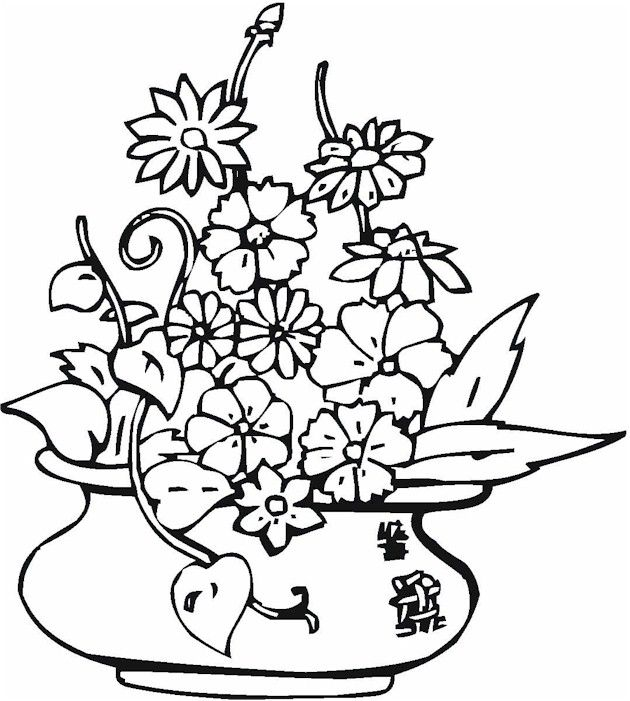 vases with flowers coloring pages - photo#11