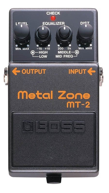 boss mt-2 metal zone pedal, a very underrated pedal, w/ a complete eq i can dial in a crunchy 70's overdrive that sounds amazing ~