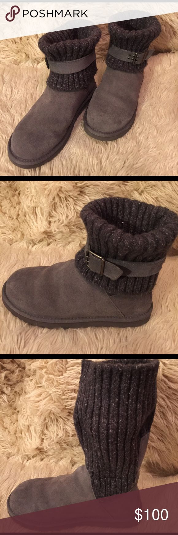 Grey UGG Women's Cambridge Boots, size 9 Grey UGG Women's Cambridge Boots, size 9.  Three way look:  (1) Sweater Folded down with removable strap (2) Sweater folded without removable strap & (3) sweater pulled straight up.  Leather upper.  Really comfortable. UGG Shoes