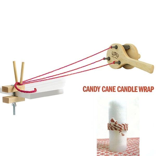 This kit comes with the Incredible Rope Machine, material and instructions for making a candy cane  Candle wrap.