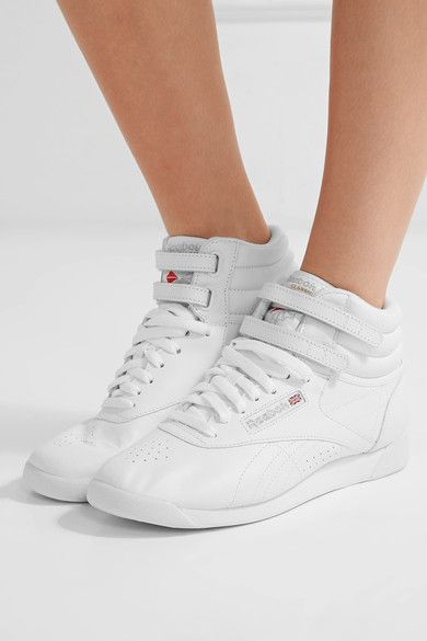 Is it 1985? Throwback kicks. Rubber sole measures approximately 30mm/ 1 inch White leather Lace-up front, Velcro®-fastening straps Imported