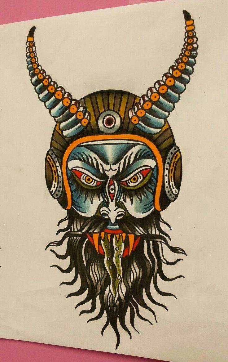 devil tattoo #traditional tattoo #tattoo #done by Vassotats lowbrow #follow me on instagramm Vasso_lowbrow.etf