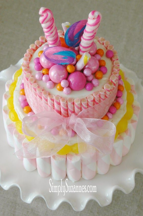 DIY:: A Pink Candy Birthday or Celebration Cake ! So So Gorgeous ! And Surprisingly Easier to Make Than You Think !!
