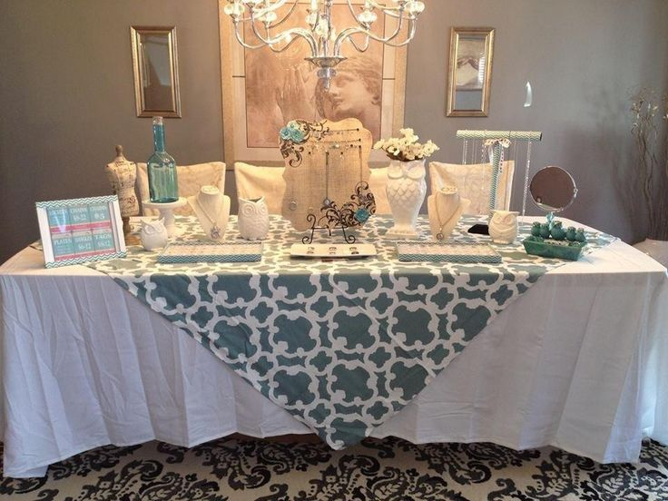Table Display Ideas wedding cookie table display ideas Beautiful Origami Owl Jewelry Bar Display The Blue Tablecloth Is A Shower Curtain From Target