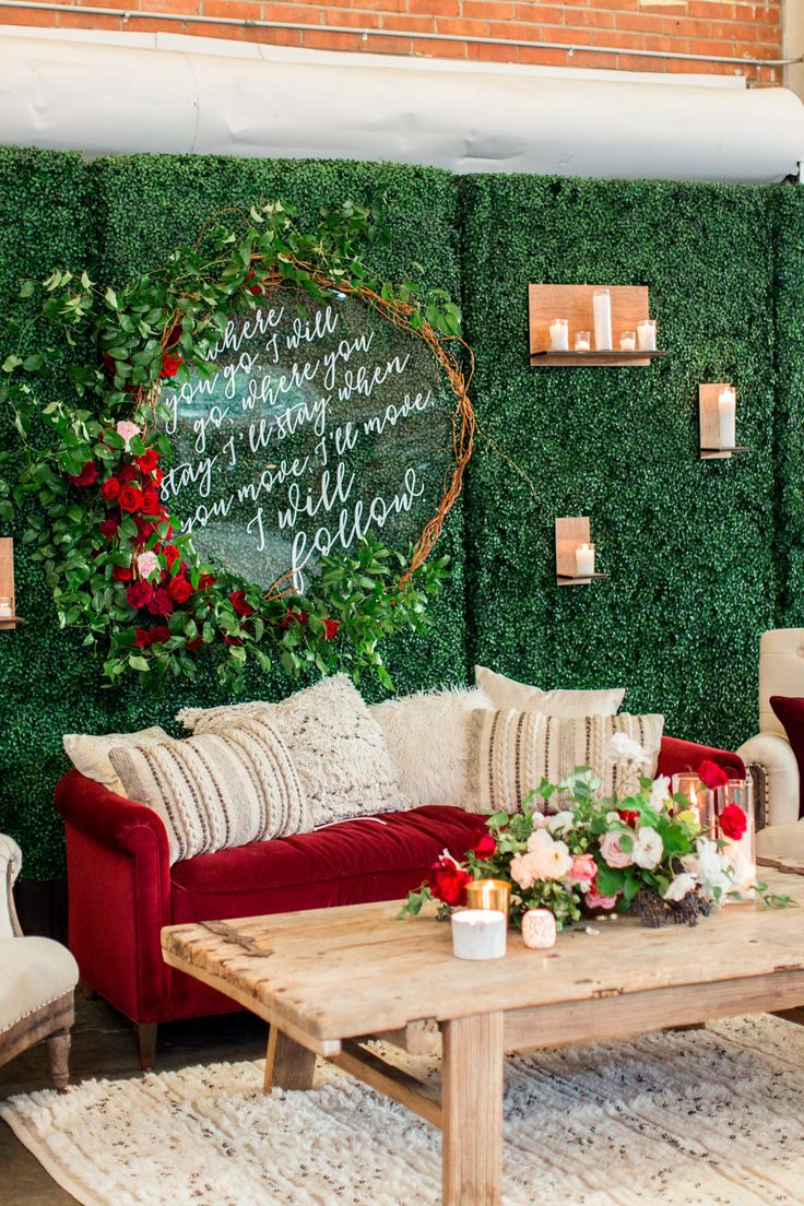 Lounge wedding setup, BRICK wedding reception with winter green blue and red flowers by Bloom BabesThe North Chapel wedding ceremony in San DiegoBride and groom luxury wedding portrait in San Diego at a BRICK wedding, Cavin Elizabeth Photography